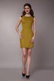 Donna sexy di affari di bellezza nell'ente esile perfetto del vestito da modo Fotografia Stock