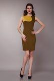 Donna sexy di affari di bellezza nell'ente esile perfetto del vestito da modo Immagine Stock