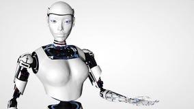 Donna sexy di androide del robot con l'alfa canale Tecnologia futura del cyborg, intelligenza artificiale, tecnologie informatich