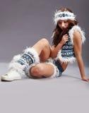 Donna sexy di inverno di emozione Immagine Stock
