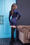 Donna sexy di stile di modo di trucco dell'abbigliamento del vestito da bellezza Immagini Stock Libere da Diritti