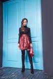 Donna sexy di stile di modo di trucco dell'abbigliamento del vestito da bellezza Fotografie Stock Libere da Diritti