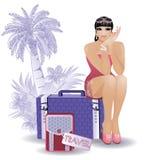 Donna sexy di viaggio di estate Fotografie Stock