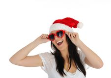 Donna sexy divertente del clouse della Santa in vestiti casuali Immagine Stock