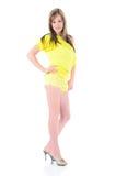 Donna sexy nel colore giallo Immagine Stock Libera da Diritti