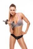 Donna sexy piacevole che fa allenamento con la testa di legno Fotografie Stock