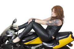 Donna sexy su una bici Fotografie Stock