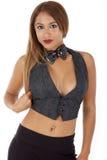 Donna sexy in una maglia ed in una cravatta a farfalla del tux Immagini Stock