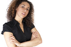 Donna sicura su bianco Fotografia Stock Libera da Diritti