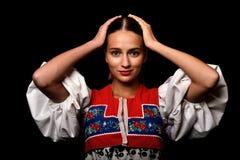 Donna slovacca di folclore Immagini Stock