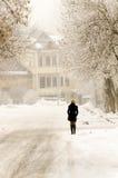 Donna sola di inverno nella via Immagine Stock