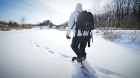 Donna sola Snowshoeing in natura video d archivio