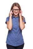 Donna sollecitata con un'emicrania Fotografia Stock Libera da Diritti