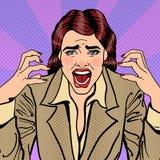 Donna sollecitata frustrata di affari che grida Pop art illustrazione vettoriale