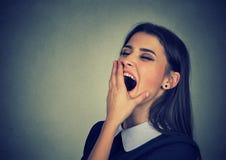 Donna sonnolenta con lo sguardo di sbadiglio della bocca spalancata annoiato Immagini Stock