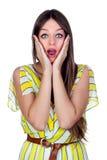 Donna sorpresa con gli occhi azzurri Immagine Stock Libera da Diritti