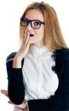 donna sorpresa con la mano alla bocca Immagine Stock Libera da Diritti