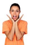 Donna sorpresa del brunette Immagini Stock
