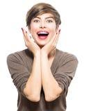 Donna sorpresa Giovane bellezza emozionante Fotografie Stock Libere da Diritti