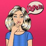Donna sorpresa nello stile comico Bolla oops Immagine Stock