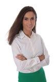 Donna sorridente attraente di affari isolata sopra la blusa d'uso bianca Immagini Stock