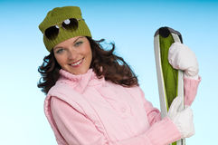 Donna sorridente in attrezzatura dentellare e verde Immagini Stock