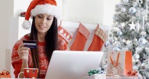 Donna sorridente che fa compera online di Natale Immagini Stock Libere da Diritti