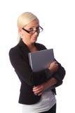 Donna sorridente con il computer portatile Fotografie Stock Libere da Diritti