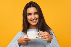 Donna sorridente con la tazza Immagini Stock