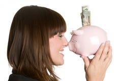Donna sorridente dei soldi Fotografie Stock Libere da Diritti