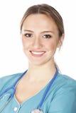 Donna sorridente del medico con lo stetoscopio Fotografia Stock Libera da Diritti