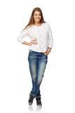 Donna sorridente dell'ente completo Fotografie Stock Libere da Diritti