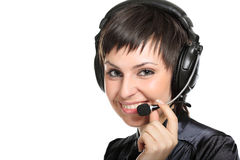 Donna sorridente dell'operatore in una call center Fotografia Stock Libera da Diritti