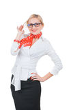 Donna sorridente di affari Immagini Stock