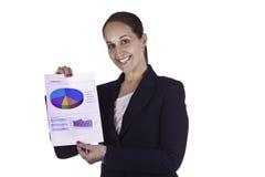 Donna sorridente di affari che mostra un documento di rapporto Immagini Stock Libere da Diritti