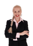 Donna sorridente di affari con i capelli della treccia Fotografie Stock Libere da Diritti
