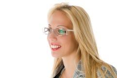 Donna sorridente di affari con i vetri Fotografie Stock