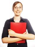 Donna sorridente di affari con la cartella rossa Immagine Stock