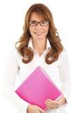 Donna felice di affari con un archivio Immagini Stock