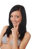 Donna sorridente di forma fisica. Priorità bassa bianca isolata Fotografie Stock Libere da Diritti