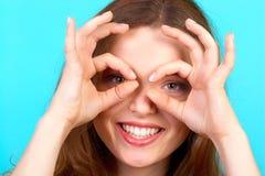 Donna sorridente divertente Immagine Stock Libera da Diritti