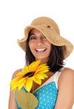 Donna sorridente felice con il girasole Fotografie Stock