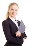 Donna sorridente felice di affari con il dispositivo di piegatura Fotografie Stock