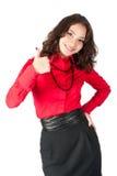 Donna sorridente felice di affari con il pollice sul segno Fotografia Stock