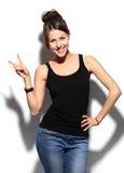 Donna sorridente felice di affari con il segno giusto della mano Immagini Stock Libere da Diritti