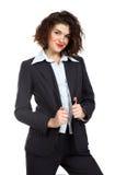 Donna sorridente graziosa di affari isolata su bianco Immagini Stock Libere da Diritti