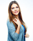 Donna sorridente isolata fondo bianco Stile casuale Fotografia Stock Libera da Diritti