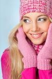 Donna sorridente sopra bianco Fotografie Stock