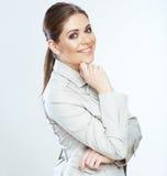 Donna sorridente a trentadue denti di affari isolata sul fondo del whte Fotografie Stock