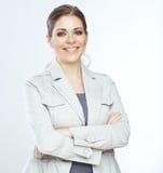 Donna sorridente a trentadue denti di affari sul fondo del whte. Fotografia Stock Libera da Diritti